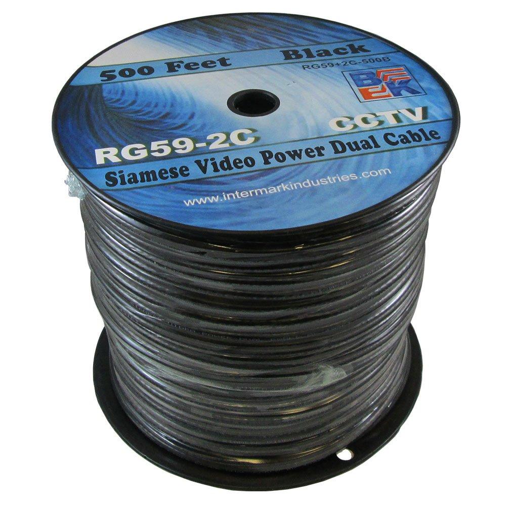 RG59 Siamese Video Power Dual Cable 500 Feet Black