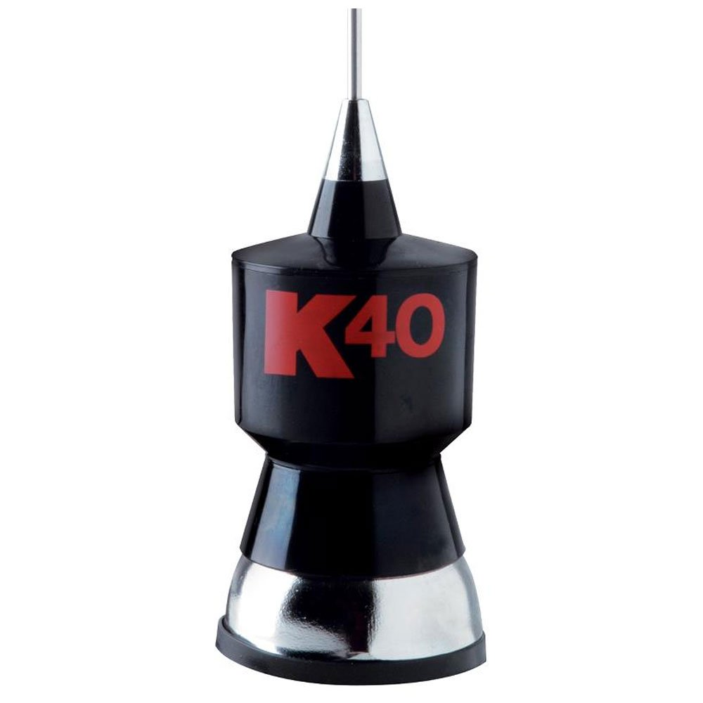 CB Antenna Kit with Stainless Steel Whip, Black w/Red K40 Logo
