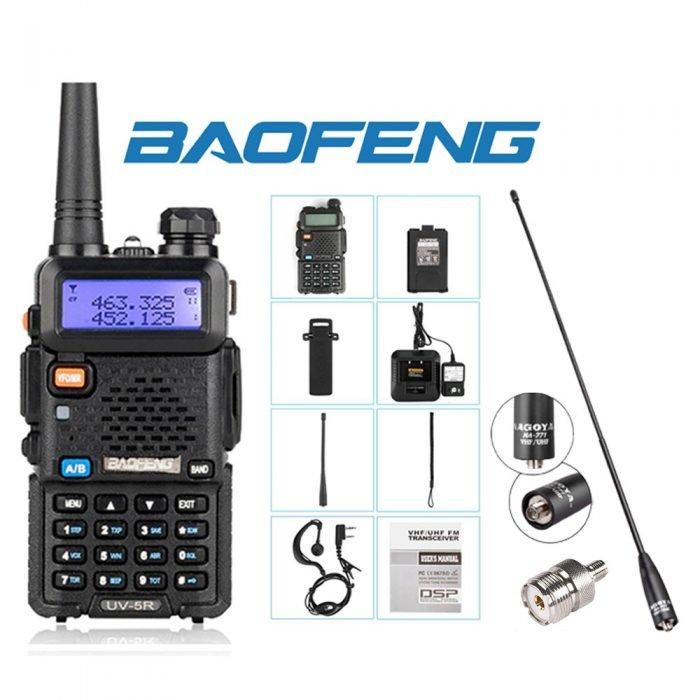 Dual Band (VHF/UHF) Analog Portable Two-Way Radio w/Antenna and Adaptor SMA to UHF